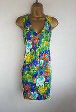 Zara Green Blue Floral Spring Summer Party Occasion Pencil Shift Dress Size S 10