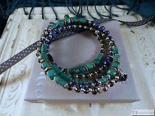 SILPADA B3219~Spiky Palms Wrap Bracelet~Howlite, Lapis, Quartz & Sterling Silver