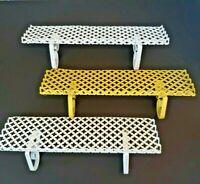 3 Hanging Metal Wall Shelves 2 White 1 Yellow MCM Cut Out Pattern Vintage