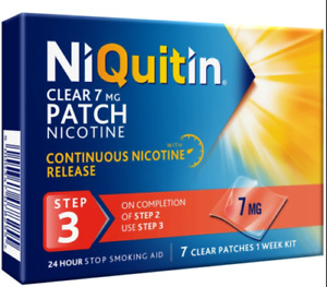 NiQuitin Clear Patch - Step 3 7 mg, 7 Patches - Stop Smoking Aid NEW EXP 11/2022