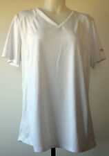 Curves White S/S V-Neck Polyester/Spandex Workout Fitness Shirt XL