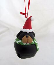 Santa Black Puppy Dog Pet Jingle Buddies Bell Holiday Christmas Tree Ornament