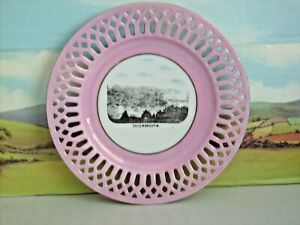 Pink Lustre pierced edge souvenir plate Teignmouth Devon