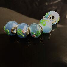 10pcs Silver MURANO GLASS BEAD LAMPWORK fit European Charm Bracelet  D,