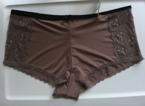 Boyleg Panties Deep Taupe Black Trim Size 2X/9-3X/10 Sexy Sheer Lace Side Insets