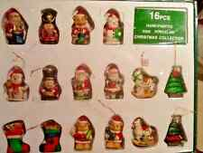 VINTAGE 16 PC PORCELAIN CHRISTMAS ORNAMENTS  SANTA SOLDIER STOCKING HORSE TREE