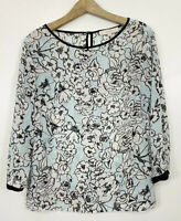 Ann Taylor LOFT Blouse Size Small Robins Egg Blue White Floral Sheer Career Top