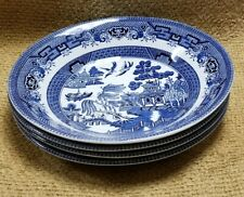 """4 Vintage Churchill Blue Willow 8"""" Soup Bowls Made in England"""