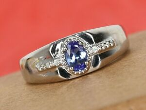 Natural Genuine Tanzanite & Genuine Sapphire   Men's Cocktail Ring Size 12
