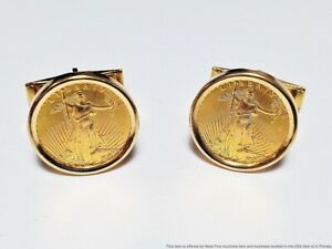 Vintage 1/10th Ounce Pure Gold Eagle Bullion Coin In 14k Gold Mens Cufflinks