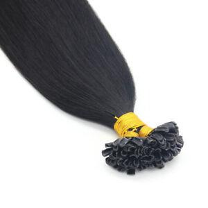 DOUBLE DRAWN 8A Pre Bonded Keratin Nail U Tip Glue Remy Human Hair Extensions 1G