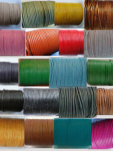100% Real Round Leather Metallic Cord 1, 1.5, 2, 3, 4mm String Lace Thong - HQ