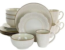 Set Dinnerware 16 Pc Dishes Plate Mug Modern Dinner Service Stoneware Ivory New