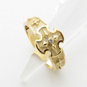 RR2039 Rosary Ring 14K 18K Cubic Solid Gold Cross size9~13 1/2 ロサリオ リング