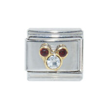Mickey Head January with clear stone Italian Charm - fits 9mm Italian charms
