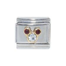 Mickey Head January with clear stone Italian Charm - fits 9mm Italian charms