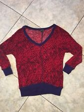 Womens Juniors Forever 21 Red And Purple Animal Print Sweater Small