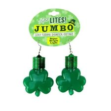 St Patrick's Day Flashing Clover Shamrock Led Bulb Glow Novelty Party Earrings
