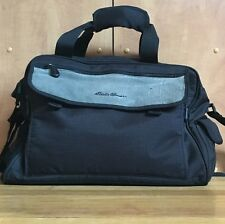 large black Eddie Bauer Diaper Bag 16x11x7 grey leather changing pad lots pocket