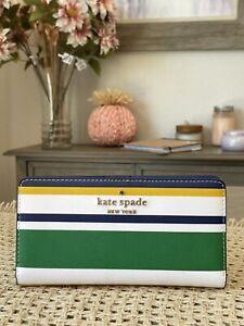 NWT Kate Spade Staci Maritime Stripe Large Slim Bifold Wallet Multi Color / Gold