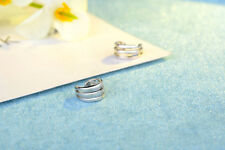 Shiny Solid 925 Sterling Silver Cutout Clip on Cuff NON-PIERCED Earrings Gift