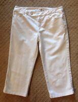 NWOT Women's Talbots Petites White Cropped Denim Capri Jeans-Size 8