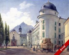 HOFBURG & ST. FRANCIS CHURCH INNSBRUCK LANDSCAPE PAINTING ART REAL CANVAS PRINT