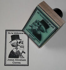 Custom Skeleton In Hat Ex Libris bookplate rubber stamp by Amazing Arts & Posada
