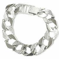 "Men's Silver Bracelet Square Curb 925 Sterling Silver 35.4g Plain Barked 8.25"""