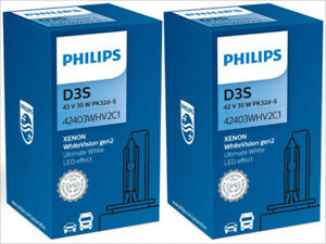 2x NEW! PHILIPS WHITE VISION D3S 42403WHV2C1 5000K XENON HID HEADLIGHTS BULBS