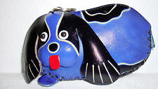 """Key chain Coin-Purse /Basset Hound Dog Shaped 3D Blue Leather- 1""""X5""""X3"""" NEW"""