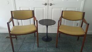 Vtg Mid Century W.H. Gunlocke Solid Walnut Side Arm Occasional Chair Pair
