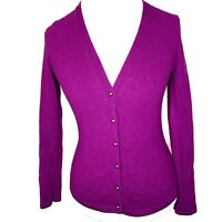 J. McLaughlin 100% Cashmere Cardigan Sweater Womens S Small Purple V-Neck