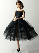 Fashion Black Lace Skirt Evening Dress Outfit Gown Clothes For 11.5in.Doll