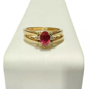 14k HGE Ring Reversible Flip Red Clear Stones Size 8 Cocktail Fashion Jewelry
