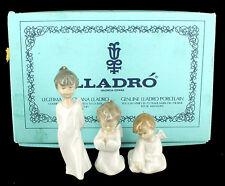 Vintage Lladro Miniangelitos #1604 Set 3 Angel Figurines Christmas Ornaments Mib