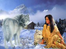 Beautiful Native American Girl with Wolves Cross Stitch Pattern 14 ct Aida on CD