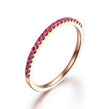 Stackable Pave Brilliant Red Ruby Solid 14K Rose Gold Half Eternity Wedding Ring