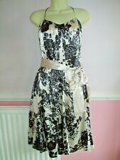 Phase Eight Cream & Black Floral Print Satin Effect Occasion Dress Size 8
