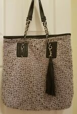 Icing lace crochet tote violet gray bag purse fringe