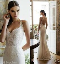 Sheath Chiffon Wedding Dress Lace Bridal Gown Open Back Appliques Custom Size