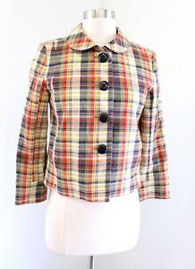 J Crew Multi Color Plaid Peter Pan Collar Jacket Size 0 A Line Button Front