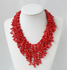 Multilayer Woven 18 Inch Semi Precious Red Coral Chips Strand Statement Necklace