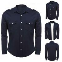 Men Embroidered Epaulet Long Sleeve Pocket Button Front Casual Shirt B98B