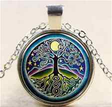 Vintage Star Tree of Life Cabochon Tibetan silver Glass Chain Pendant Necklace
