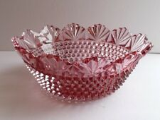 Vintage Imperial No 642 Azalea Cranberry Pink Pointed Hobnail and Fan Glass Bowl