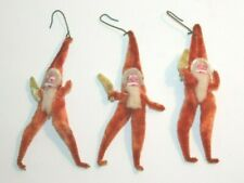 Lot of 3 Vintage Pipe Cleaner Santa Ornaments Made in Japan