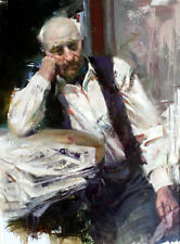 Oil painting portrait old man seated by table with Old books and old newspapers
