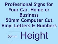 Professional Computer Cut Vinyl Letters and Numbers 50mm High - per character