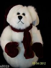 "Snowball 10"" White Bear with Burgundy Scarf, Mittens, and Hat Weighted Bottom"